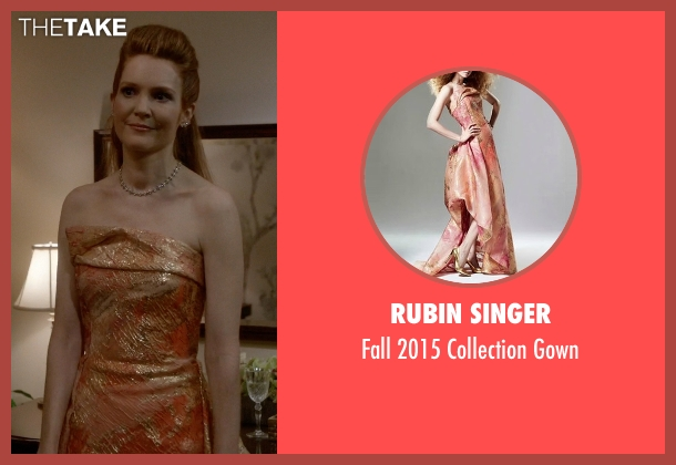Rubin Singer orange gown from Scandal seen with Abby Whelan (Darby Stanchfield)