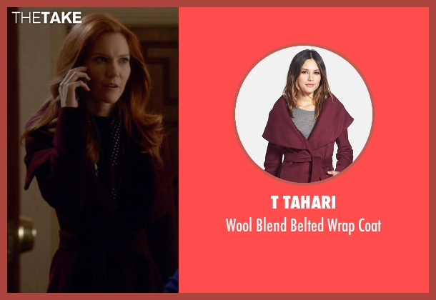 T Tahari red coat from Scandal seen with Abby Whelan (Darby Stanchfield)
