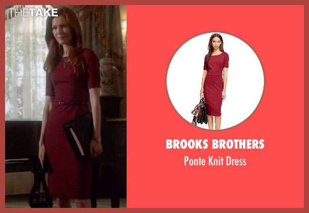 Brooks Brothers red dress from Scandal seen with Abby Whelan (Darby Stanchfield)