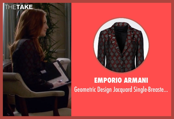 Emporio Armani red jacket from Scandal seen with Abby Whelan (Darby Stanchfield)
