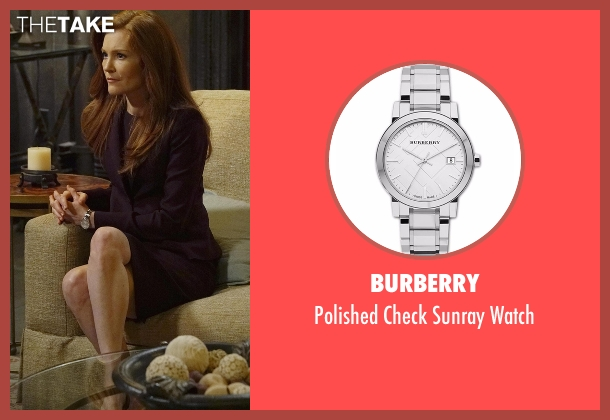 Burberry silver watch from Scandal seen with Abby Whelan (Darby Stanchfield)