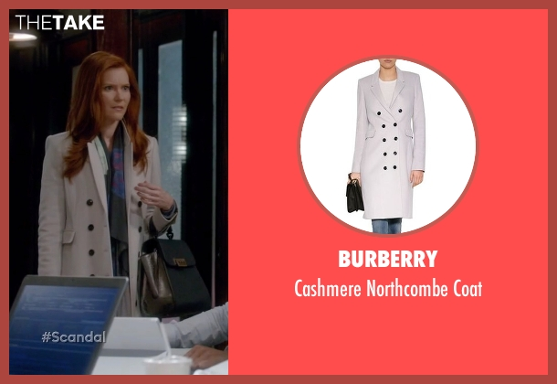 Burberry white coat from Scandal seen with Abby Whelan (Darby Stanchfield)