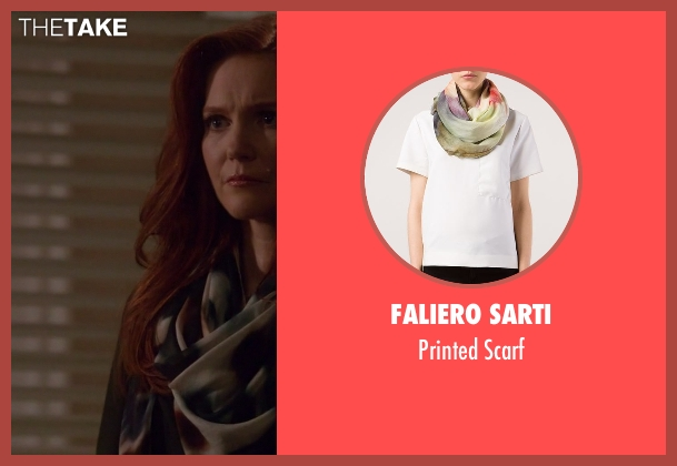 Faliero Sarti white scarf from Scandal seen with Abby Whelan (Darby Stanchfield)
