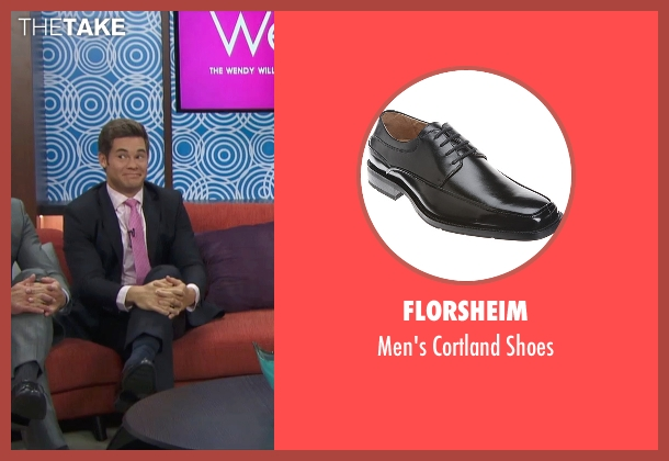 Florsheim black shoes from Mike and Dave Need Wedding Dates seen with Adam DeVine (Mike Stangle)