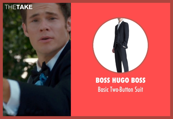 Boss Hugo Boss black suit from Mike and Dave Need Wedding Dates seen with Adam DeVine (Mike Stangle)