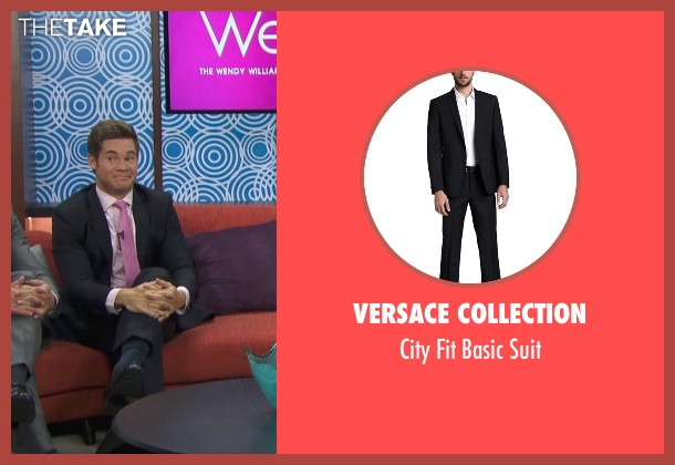 Versace Collection black suit from Mike and Dave Need Wedding Dates seen with Adam DeVine (Mike Stangle)