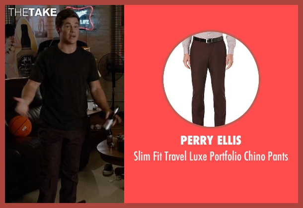 Perry Ellis brown pants from Mike and Dave Need Wedding Dates seen with Adam DeVine (Mike Stangle)
