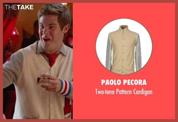 Paolo Pecora beige cardigan from Pitch Perfect 2 seen with Adam DeVine (Bumper Allen)