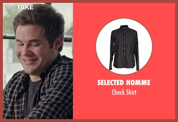 Selected Homme black shirt from The Intern seen with Adam DeVine (Jason)