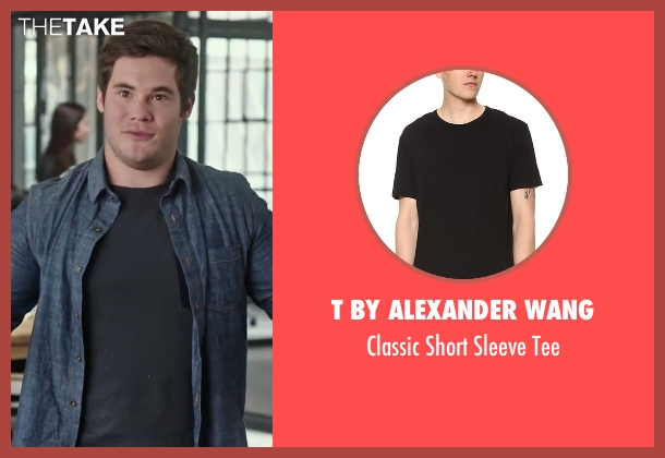 T By Alexander Wang black tee from The Intern seen with Adam DeVine (Jason)