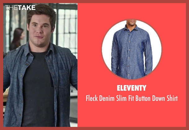 Eleventy blue shirt from The Intern seen with Adam DeVine (Jason)