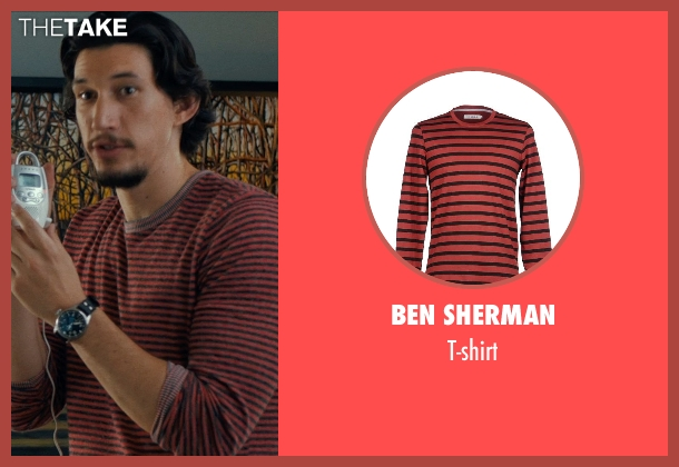 BEN SHERMAN red t-shirt from This Is Where I Leave You seen with Adam Driver (Philip Altman)