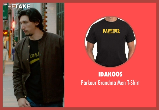 Idakoos black t-shirt from What If seen with Adam Driver (Allan)