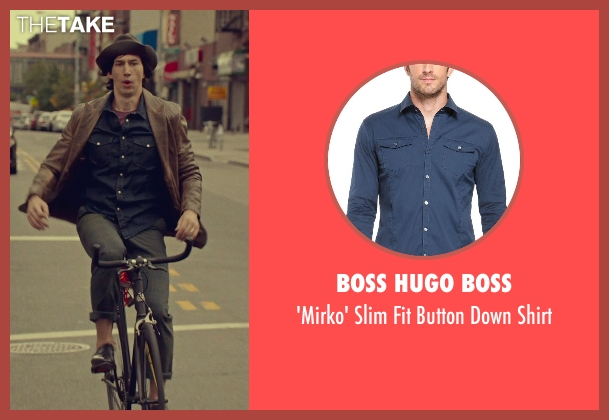 Boss Hugo Boss blue shirt from While We're Young seen with Adam Driver (Jamie)