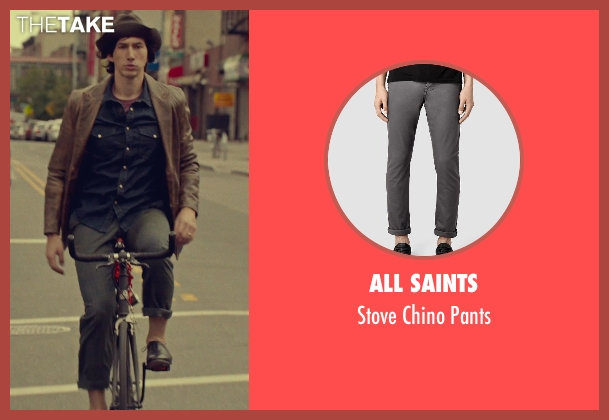 All Saints gray pants from While We're Young seen with Adam Driver (Jamie)