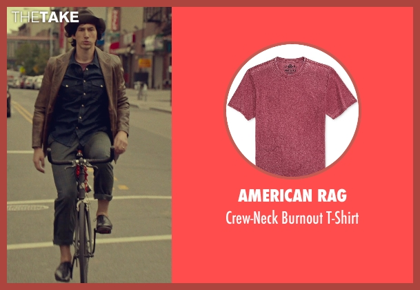 American Rag red t-shirt from While We're Young seen with Adam Driver (Jamie)