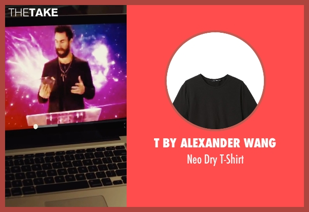 T by Alexander Wang black t-shirt from Begin Again seen with Adam Levine (Dave)