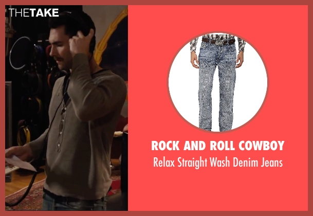 Rock and Roll Cowboy blue jeans from Begin Again seen with Adam Levine (Dave)