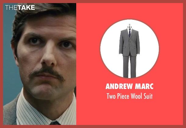 Andrew Marc gray suit from Black Mass seen with Adam Scott (Robert Fitzpatrick)