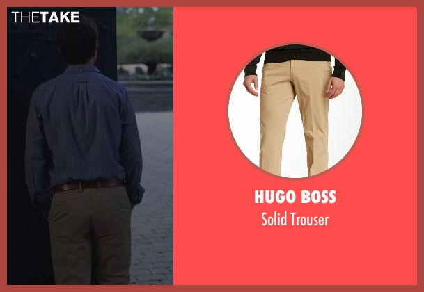 Hugo Boss beige trouser from The Overnight seen with Adam Scott (Alex)