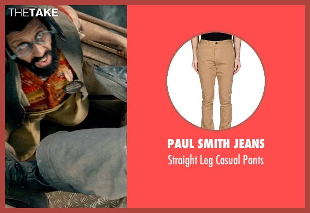 Paul Smith Jeans beige pants from Pan seen with Adeel Akhtar (Mr. Smee)