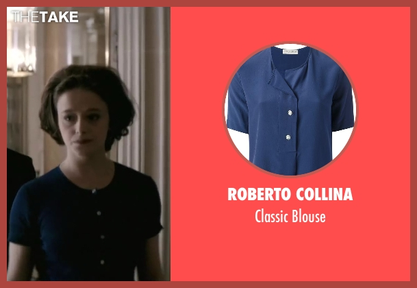 Roberto Collina blue blouse from Yves Saint Laurent seen with Adeline D'Hermy (Anne-Marie Munoz)