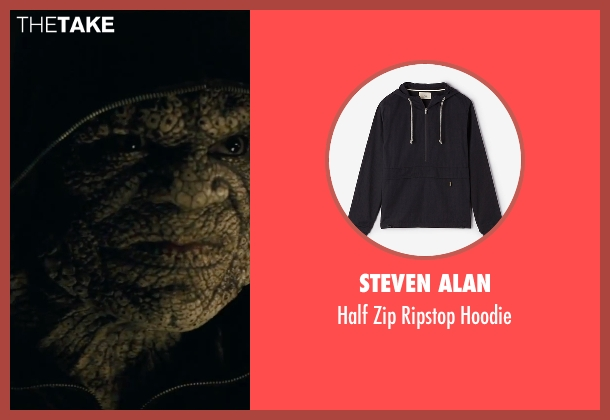 Steven Alan black hoodie from Suicide Squad seen with Adewale Akinnuoye-Agbaje (Waylon Jones / Killer Croc)