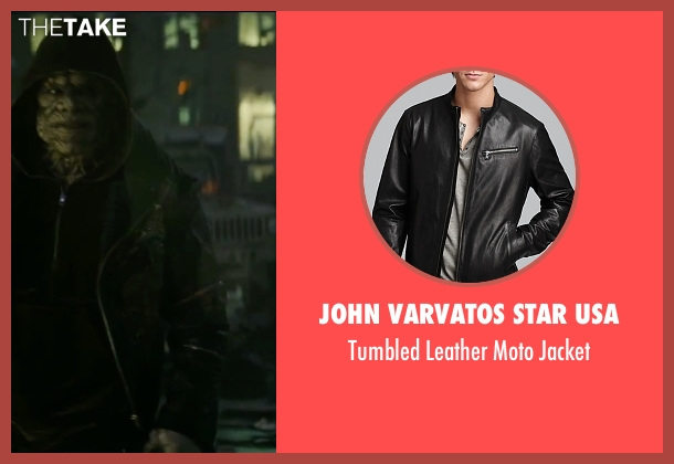 John Varvatos Star USA black jacket from Suicide Squad seen with Adewale Akinnuoye-Agbaje (Waylon Jones / Killer Croc)