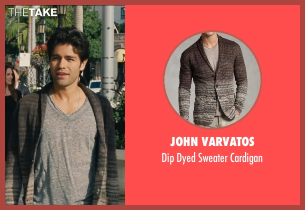 John Varvatos brown cardigan from Entourage seen with Adrian Grenier (Vincent Chase)