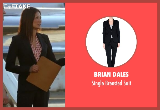 Brian Dales black suit from MacGyver seen with Agent Croix (Michelle Krusiec)