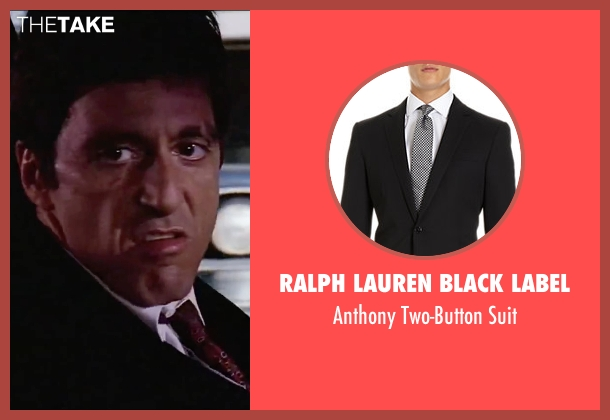 Ralph Lauren Black Label black suit from Scarface seen with Al Pacino (Tony Montana)