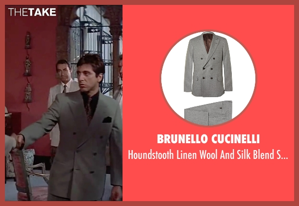 Brunello Cucinelli gray suit from Scarface seen with Al Pacino (Tony Montana)