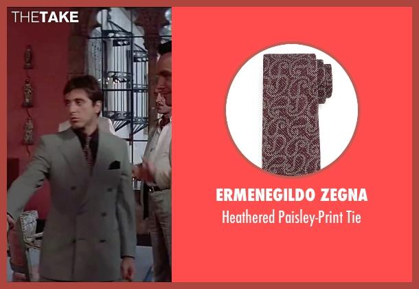 Ermenegildo Zegna red tie from Scarface seen with Al Pacino (Tony Montana)
