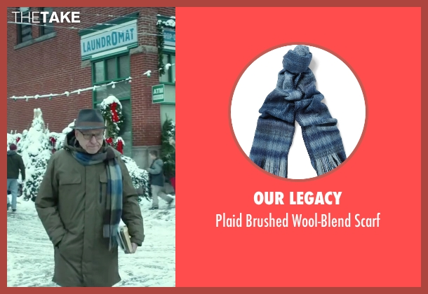 Our Legacy blue scarf from Love the Coopers seen with Alan Arkin (Bucky)