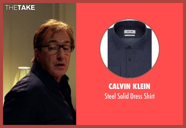 Calvin Klein blue shirt from Love Actually seen with Alan Rickman (Harry)