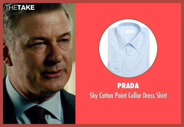 Prada blue shirt from Mission: Impossible - Rogue Nation seen with Alec Baldwin (The Head of The CIA)