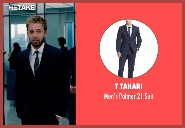 T Tahari blue suit from The Secret Life of Walter Mitty seen with Alex Anfanger (Ted's Toner Box Associate)