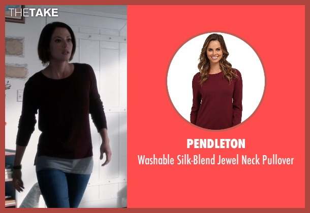 Pendleton red pullover from Supergirl seen with Alex Danvers (Chyler Leigh)