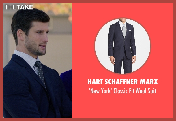 Hart Schaffner Marx blue suit from Arrow seen with Alex Davis (Parker Young)