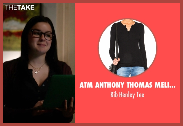 ATM Anthony Thomas Melillo black tee from Modern Family seen with Alex Dunphy  (Ariel Winter)