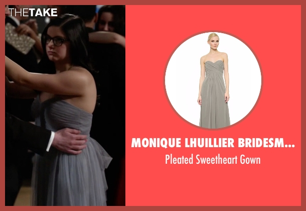 Monique Lhuillier Bridesmaids gray gown from Modern Family seen with Alex Dunphy  (Ariel Winter)