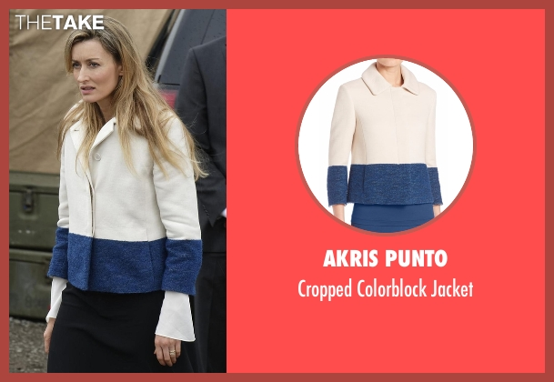 Akris Punto white jacket from Designated Survivor seen with Alex Kirkman (Natascha McElhone)