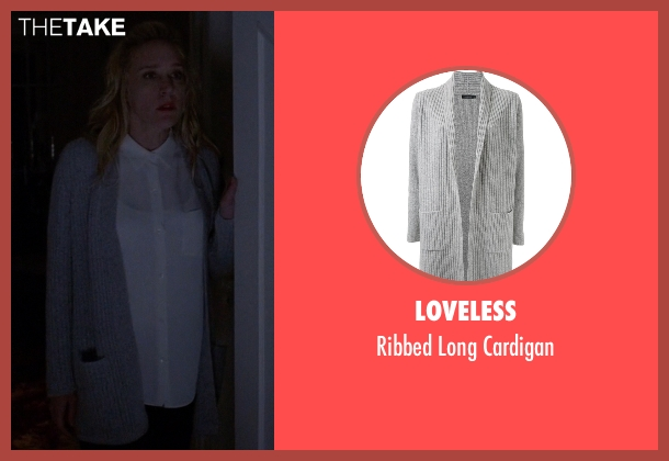 Loveless gray cardigan from American Horror Story seen with Alex Lowe (Chloë Sevigny)
