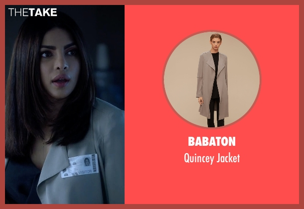 Babaton beige jacket from Quantico seen with Alex Parrish (Priyanka Chopra)