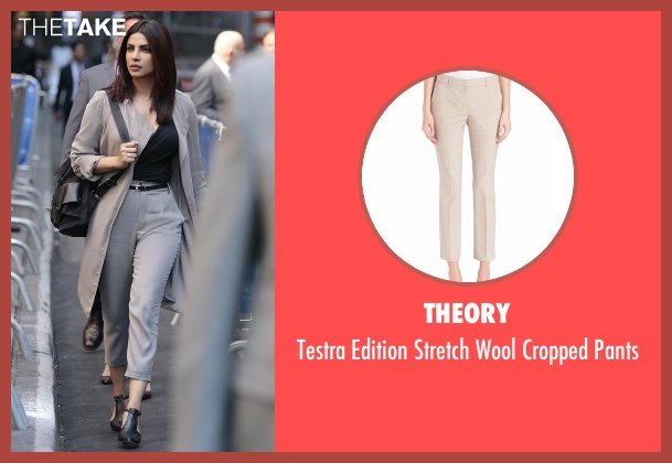 Theory beige pants from Quantico seen with Alex Parrish (Priyanka Chopra)