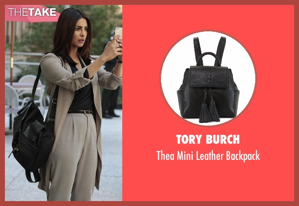 Tory Burch black backpack from Quantico seen with Alex Parrish (Priyanka Chopra)