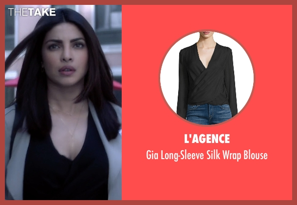 L'Agence black blouse from Quantico seen with Alex Parrish (Priyanka Chopra)
