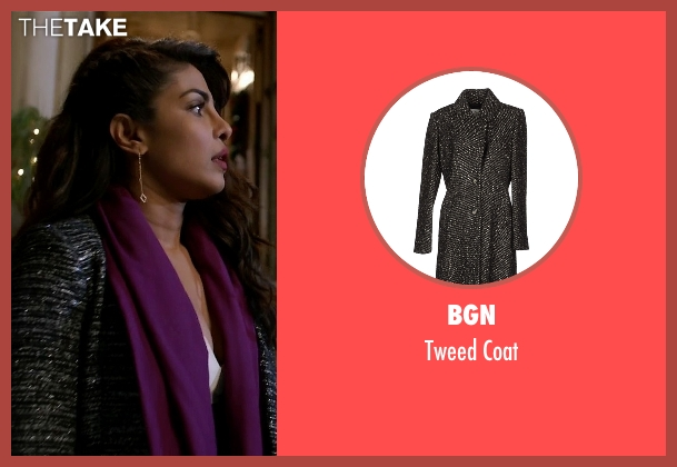 BGN black coat from Quantico seen with Alex Parrish (Priyanka Chopra)