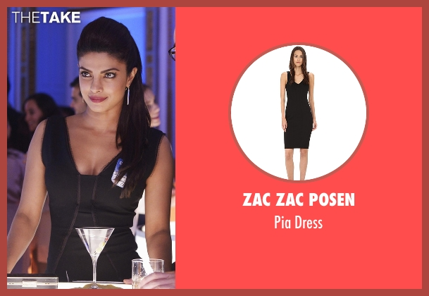 Zac Zac Posen black dress from Quantico seen with Alex Parrish (Priyanka Chopra)