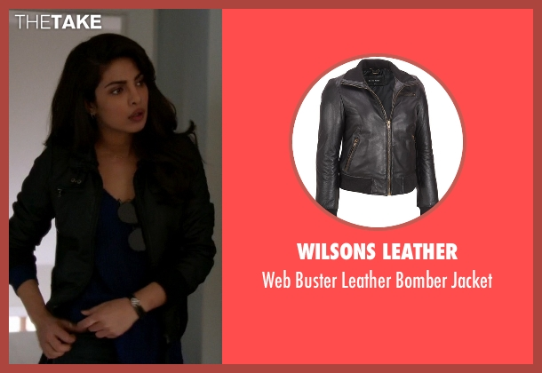 Wilsons Leather black jacket from Quantico seen with Alex Parrish (Priyanka Chopra)
